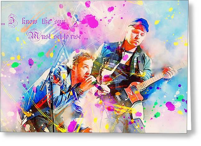 Coldplay Lyrics Greeting Card by Rosalina Atanasova