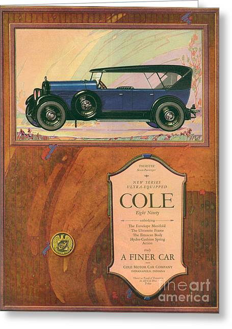 American Automobiles Greeting Cards - Cole 1922 1920s Usa Cc Cars Greeting Card by The Advertising Archives