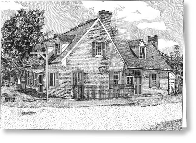 Cole Drawings Greeting Cards - Cole Digges House in Yorktown Virginia Greeting Card by Stephany Elsworth