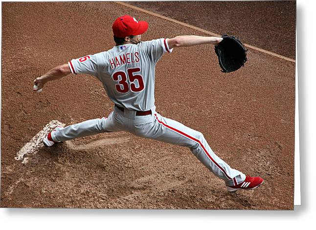 Cole Hamels - Pregame Warmup Greeting Card by Stephen Stookey