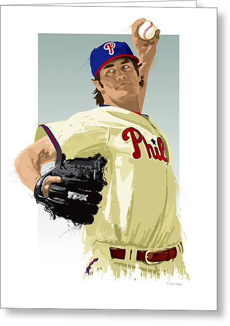 Cole Hamels Greeting Card by Scott Weigner