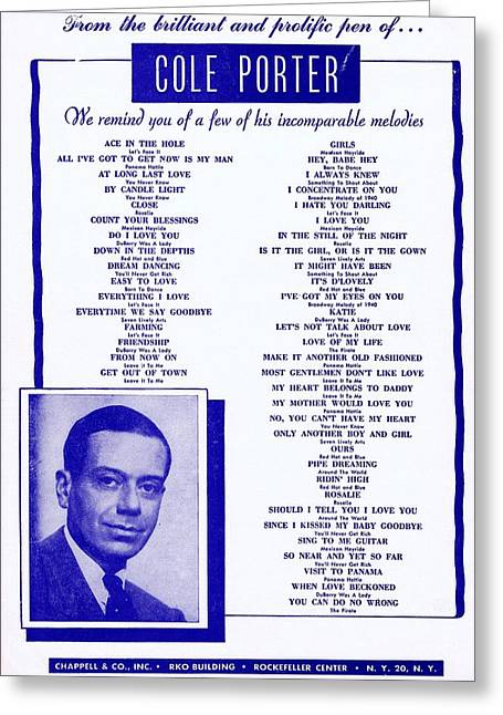 Cole Porter Greeting Card by Mel Thompson