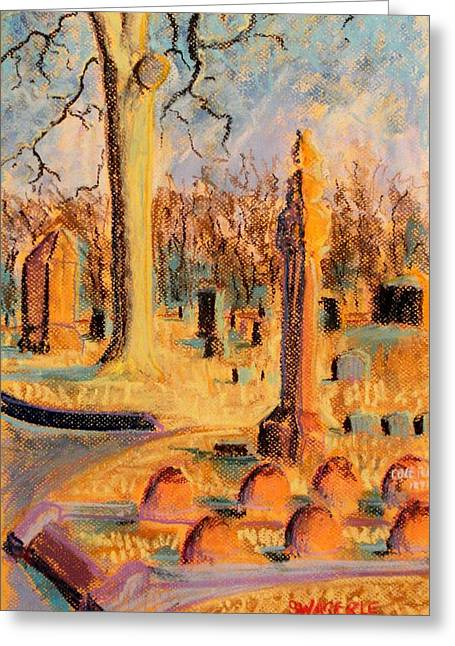 Headstones Pastels Greeting Cards - Cole Porters Resting Place Greeting Card by Tim  Swagerle