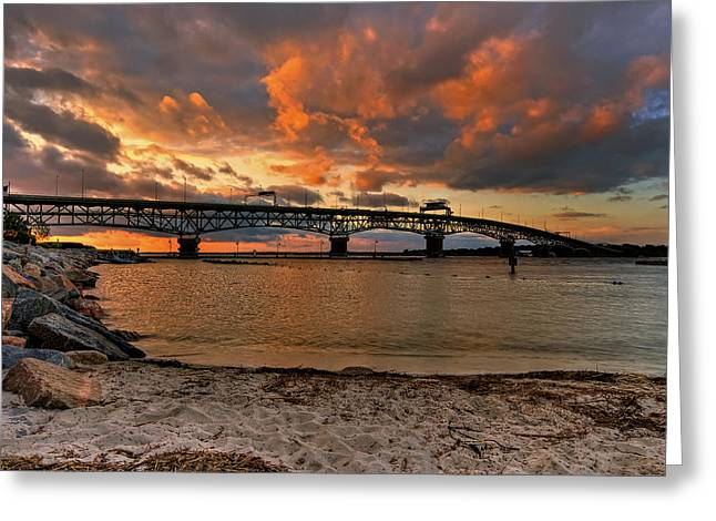Coleman Bridge At Sunset Greeting Card by Jerry Gammon