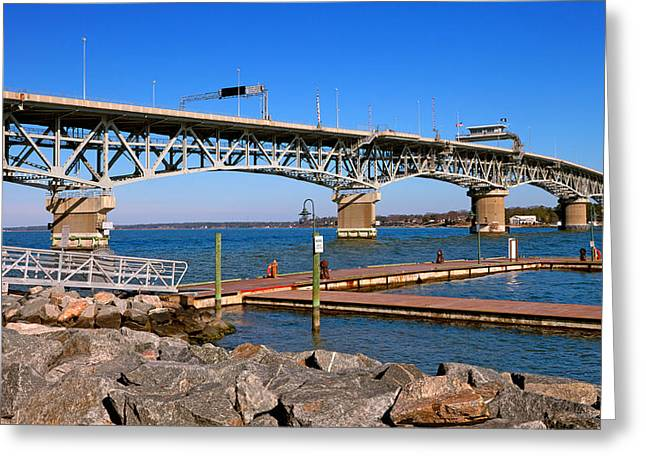 Swing Span Greeting Cards - Coleman Bridge Greeting Card by Melinda Fawver