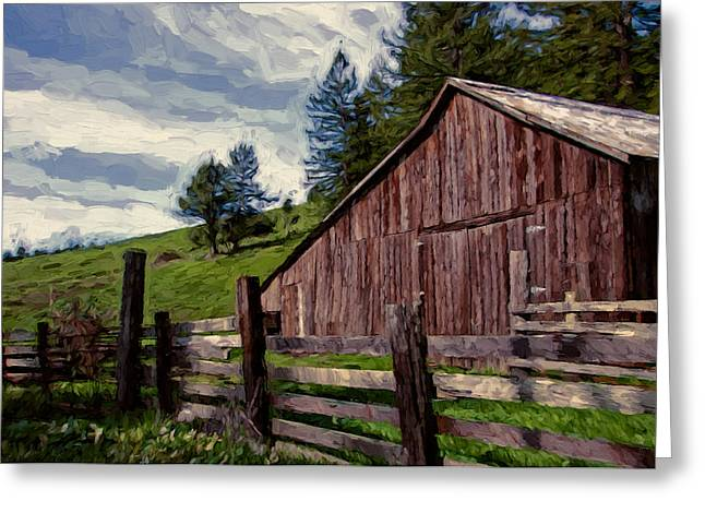 Pastoral Mixed Media Greeting Cards - Coleman Valley Barn Greeting Card by John K Woodruff