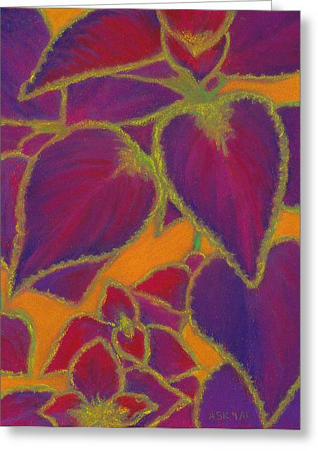 Graphic Pastels Greeting Cards - Coleus Gone Wild Greeting Card by Anne Katzeff