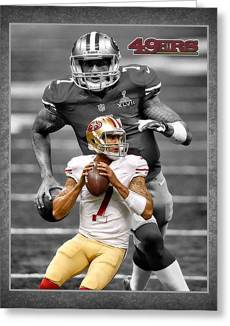 Cleat Greeting Cards - Colin Kaepernick 49ers Greeting Card by Joe Hamilton