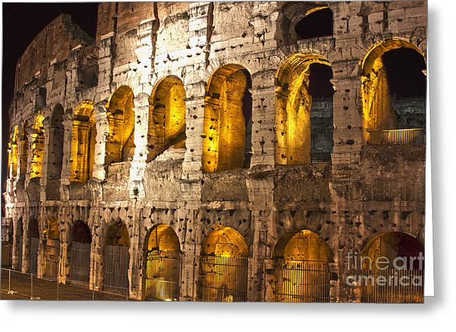 Coliseum At Night  Greeting Card by Mare Moraes