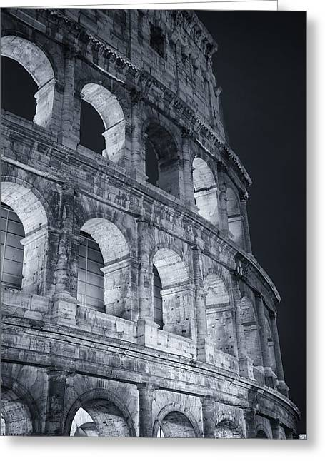 Old Postcards Greeting Cards - Colosseum Before Dawn Greeting Card by Joan Carroll