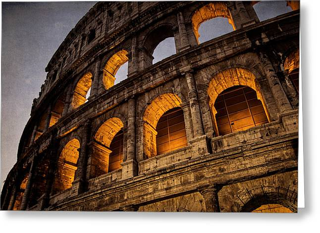 Colosseum Dawn Greeting Card by Joan Carroll