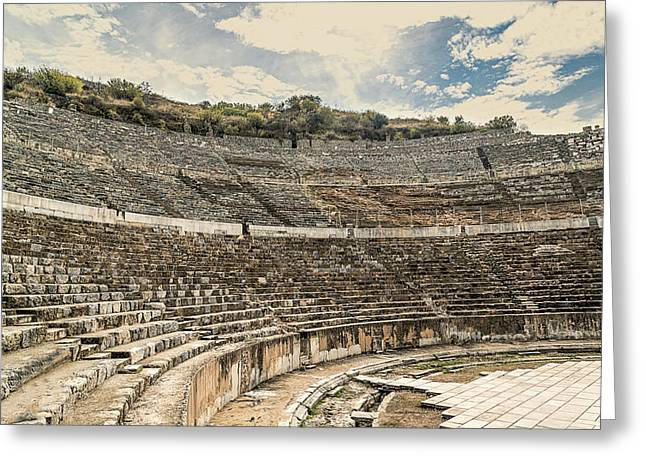 Civilization Greeting Cards - Coliseum Greeting Card by Maria Coulson