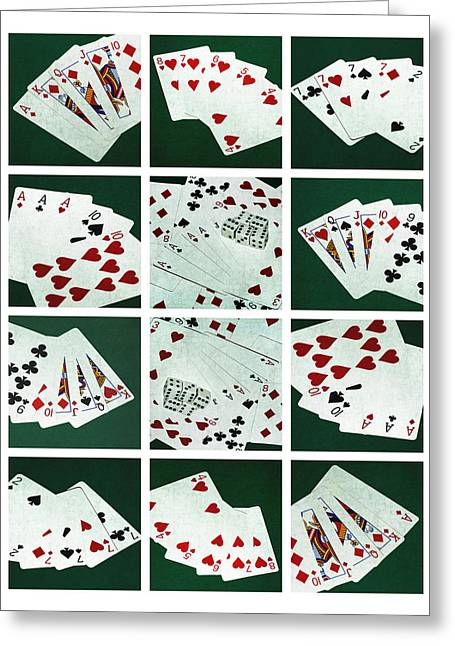 Four Aces Greeting Cards - Collage - Card Of Poker Hands 2 Greeting Card by Alexander Senin