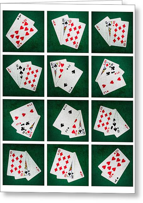 Four Aces Greeting Cards - Collage - Card Of Twenty One Greeting Card by Alexander Senin