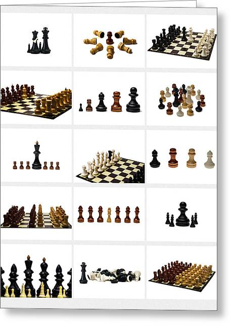 Chessmen Greeting Cards - Collage Chess Stories 1 - Featured 3 Greeting Card by Alexander Senin