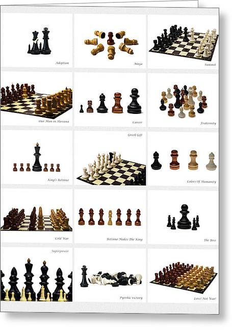 Chessmen Greeting Cards - Collage Chess Stories 2 - Featured 3 Greeting Card by Alexander Senin