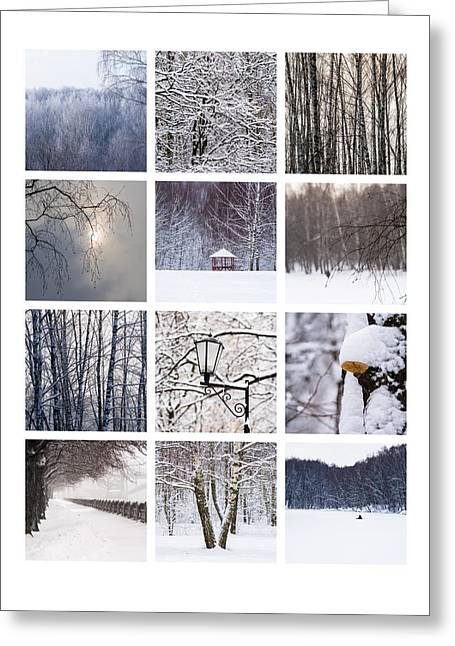 Winter Scenes Rural Scenes Greeting Cards - Collage February - Featured 3 Greeting Card by Alexander Senin