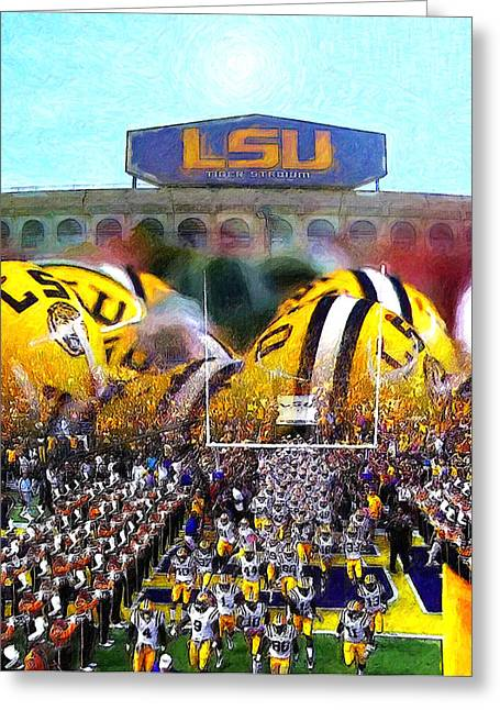 American Football Paintings Greeting Cards - Collage LSU Tigers Greeting Card by John Farr