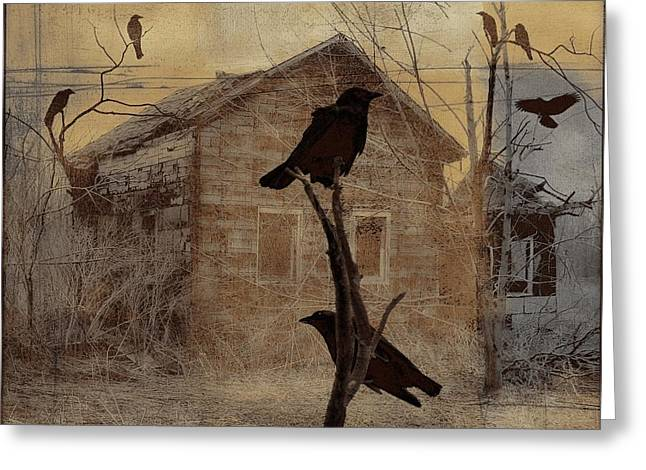 Crow Collage Greeting Cards - Collage Of 7 Crows Greeting Card by Gothicolors Donna Snyder