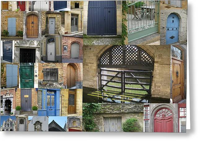 Photographs With Red. Greeting Cards - Collage of doors Greeting Card by Cathy Jacobs