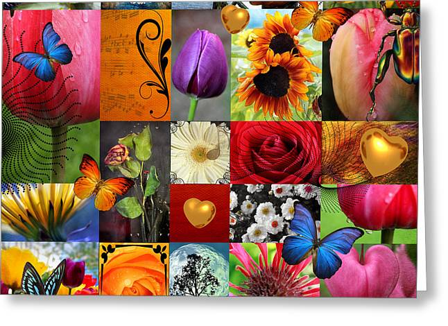 Plum Greeting Cards - Collage of happiness  Greeting Card by Mark Ashkenazi