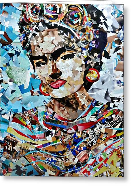 Applique Greeting Cards - Collage painting Frida Kahlo Greeting Card by Irina Bast