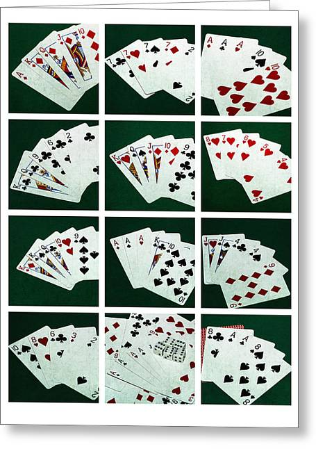 Four Aces Greeting Cards - Collage Poker Hands 2 Greeting Card by Alexander Senin