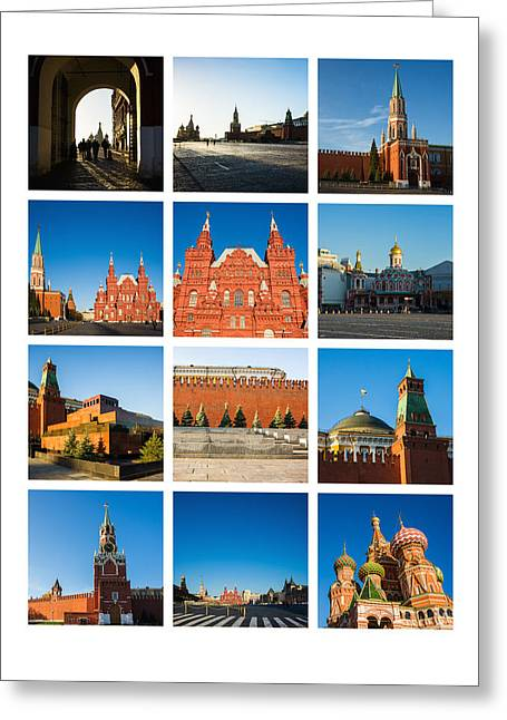 Collage - Red Square In The Morning Greeting Card by Alexander Senin