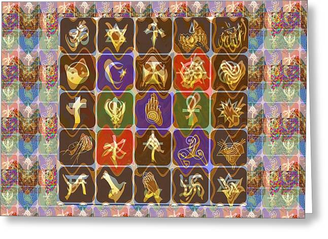 Gold Necklace Greeting Cards - Collage Religious Symbols Greeting Card by Navin Joshi
