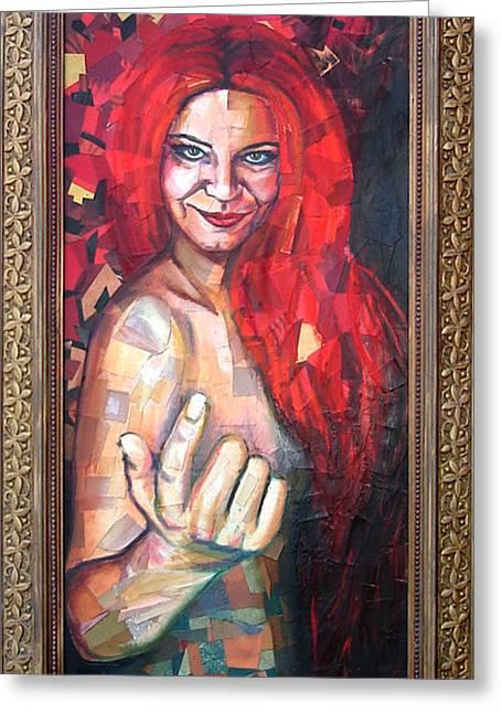 Female ist Mixed Media Greeting Cards - Collage self-portrait as Hella Greeting Card by Natasha Sazonova