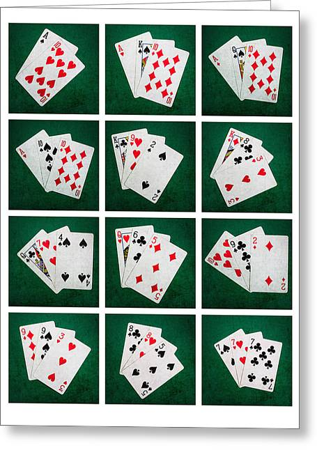 Four Aces Greeting Cards - Collage Twenty One Greeting Card by Alexander Senin