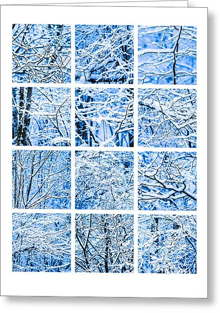 Snowstorm Greeting Cards - Collage Winter Snow Forest Greeting Card by Alexander Senin