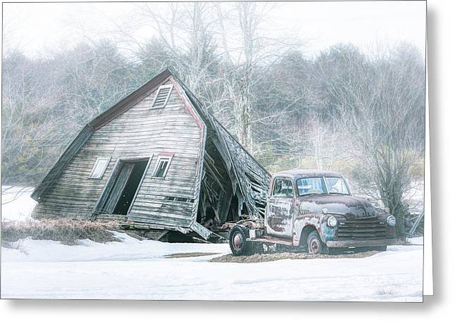 Old Barns Greeting Cards - Collapsed barn and Old truck - Americana Greeting Card by Gary Heller