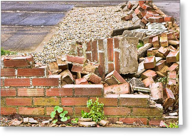 Collapse Greeting Cards - Collapsed brick wall Greeting Card by Tom Gowanlock