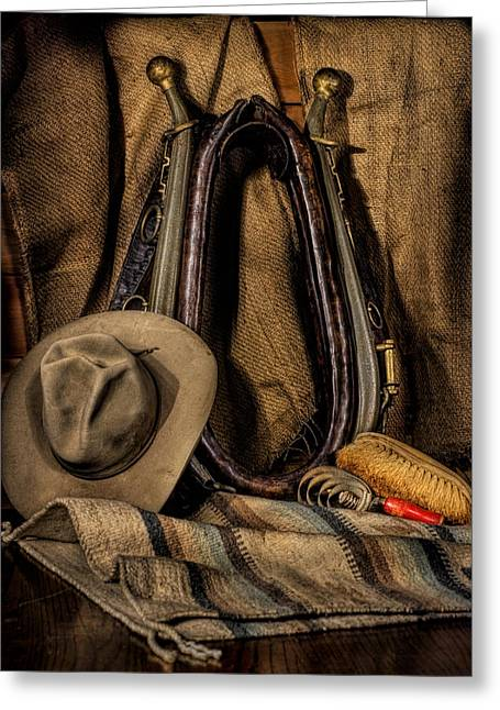 Equine Art Work Greeting Cards - Collar Hames and Hat Greeting Card by Leah McDaniel