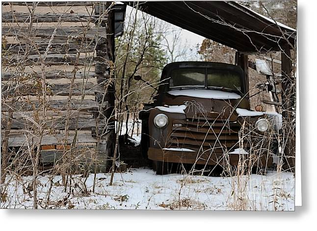 Snow-covered Landscape Greeting Cards - Collectible Rust Greeting Card by Benanne Stiens