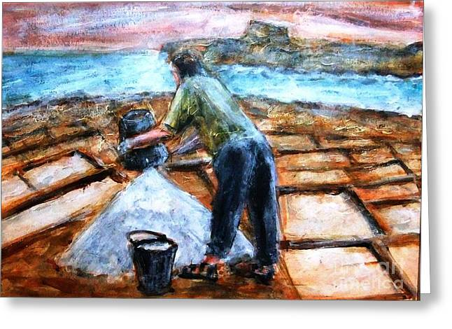 Collecting Salt At Xwejni Gozo Greeting Card by Marco Macelli