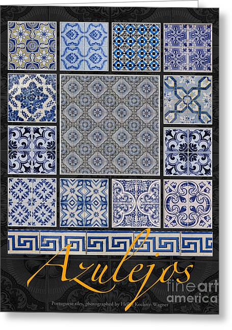 Collection Of Blue Colored Portuguese Tile-works Greeting Card by Heiko Koehrer-Wagner