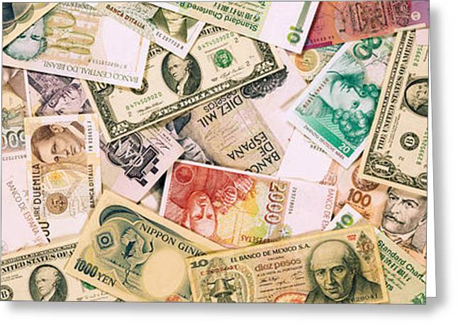 Large Group Of Objects Greeting Cards - Collection Of Currencies Of Various Greeting Card by Panoramic Images