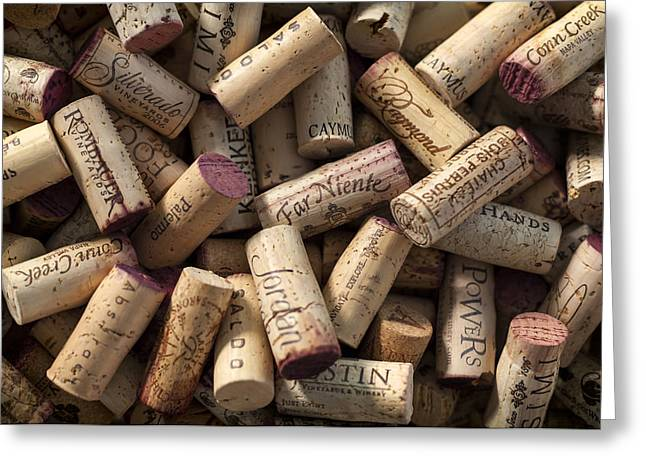 Vintage Wall Greeting Cards - Collection of Fine Wine Corks Greeting Card by Adam Romanowicz