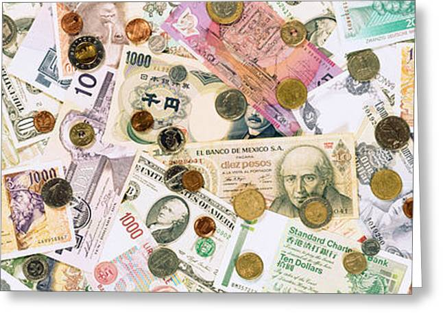 Directly Above Greeting Cards - Collection Of Various Currencies Greeting Card by Panoramic Images