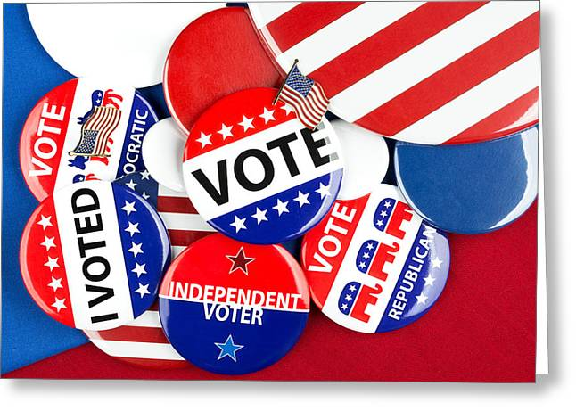 Voted Images Greeting Cards - Collection Of Vote Badges Greeting Card by Joe Belanger