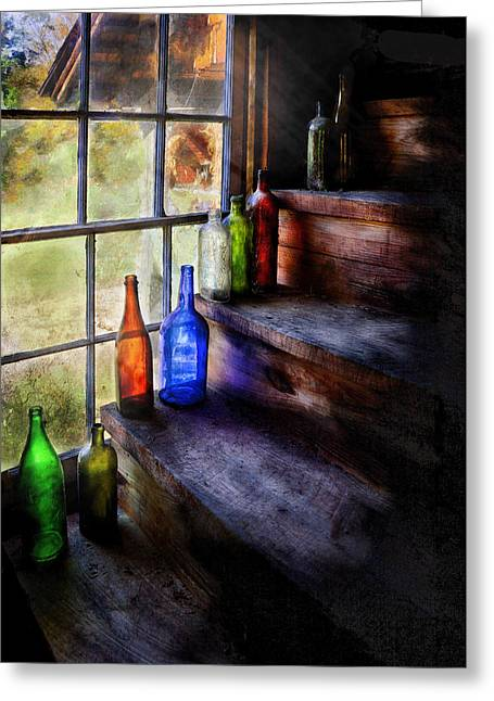 Savad Photographs Greeting Cards - Collector - Bottle - A collection of bottles Greeting Card by Mike Savad