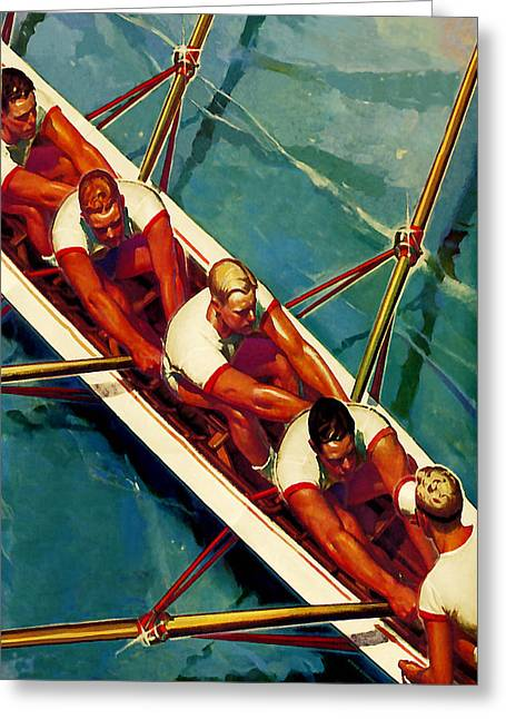League Paintings Greeting Cards - Crew Race - At the Beach America Greeting Card by Private Collection