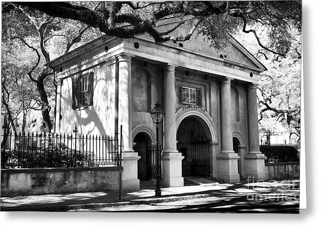 College Buildings Images Greeting Cards - College of Charleston Greeting Card by John Rizzuto