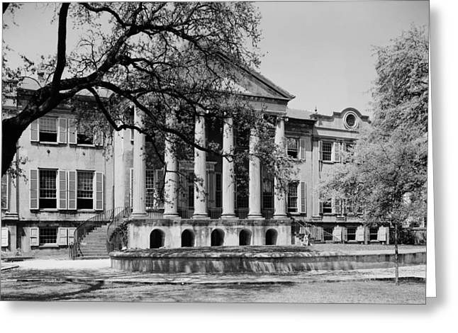 University School Greeting Cards - College of Charleston Main Building 1940 Greeting Card by Mountain Dreams