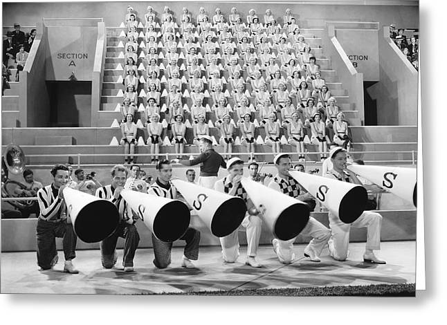 "Cheerleader   Greeting Cards - ""College Rhythm"" Cheerleaders Greeting Card by Underwood Archives"
