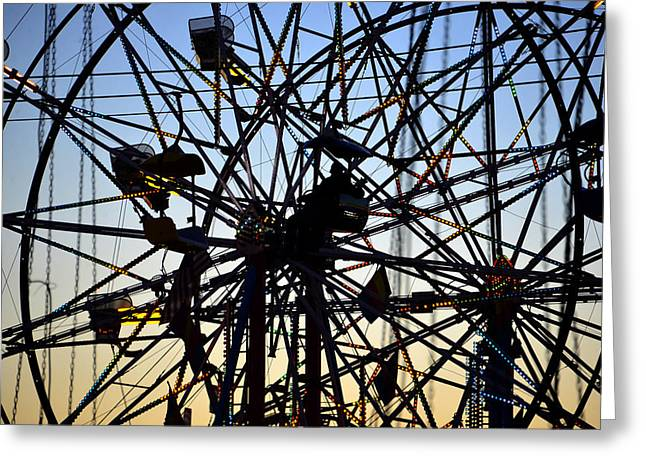 Colliding Greeting Cards - Colliding Ferris Wheels Greeting Card by David Lee Thompson