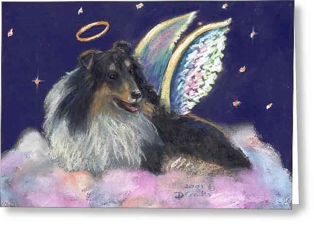 Heavens Pastels Greeting Cards - Collie Angel Greeting Card by Darlene Grubbs