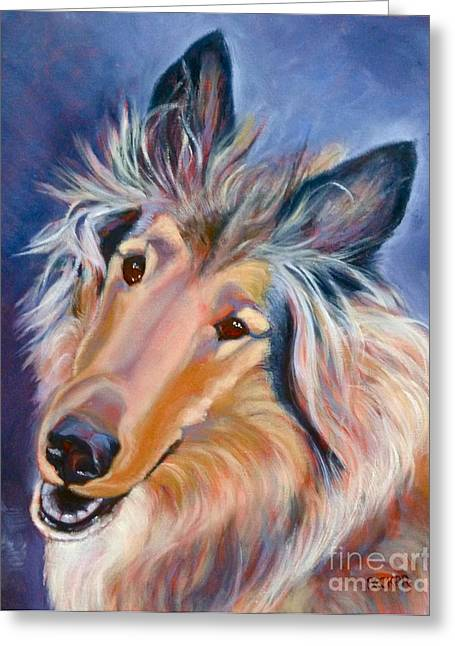 Tri Colored Greeting Cards - Collie Caper Greeting Card by Susan A Becker